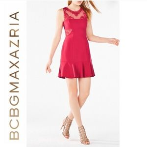 BCBG Maxazria Enida Embroidered Flounce Dress
